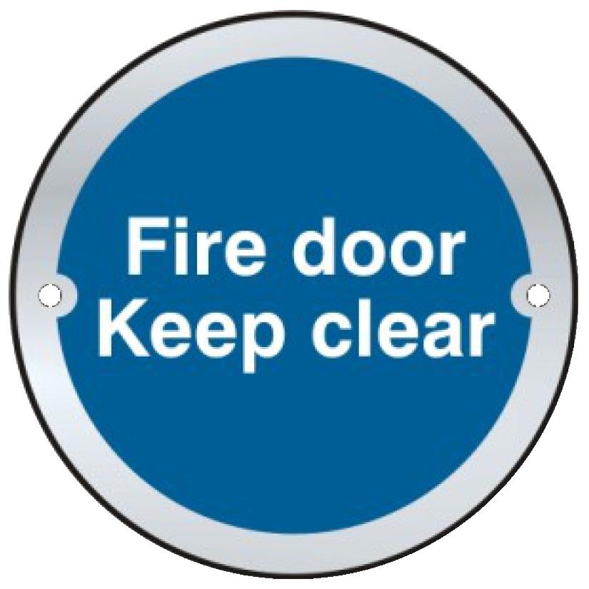 ASEC `Fire door Keep clear` Sign 75mm