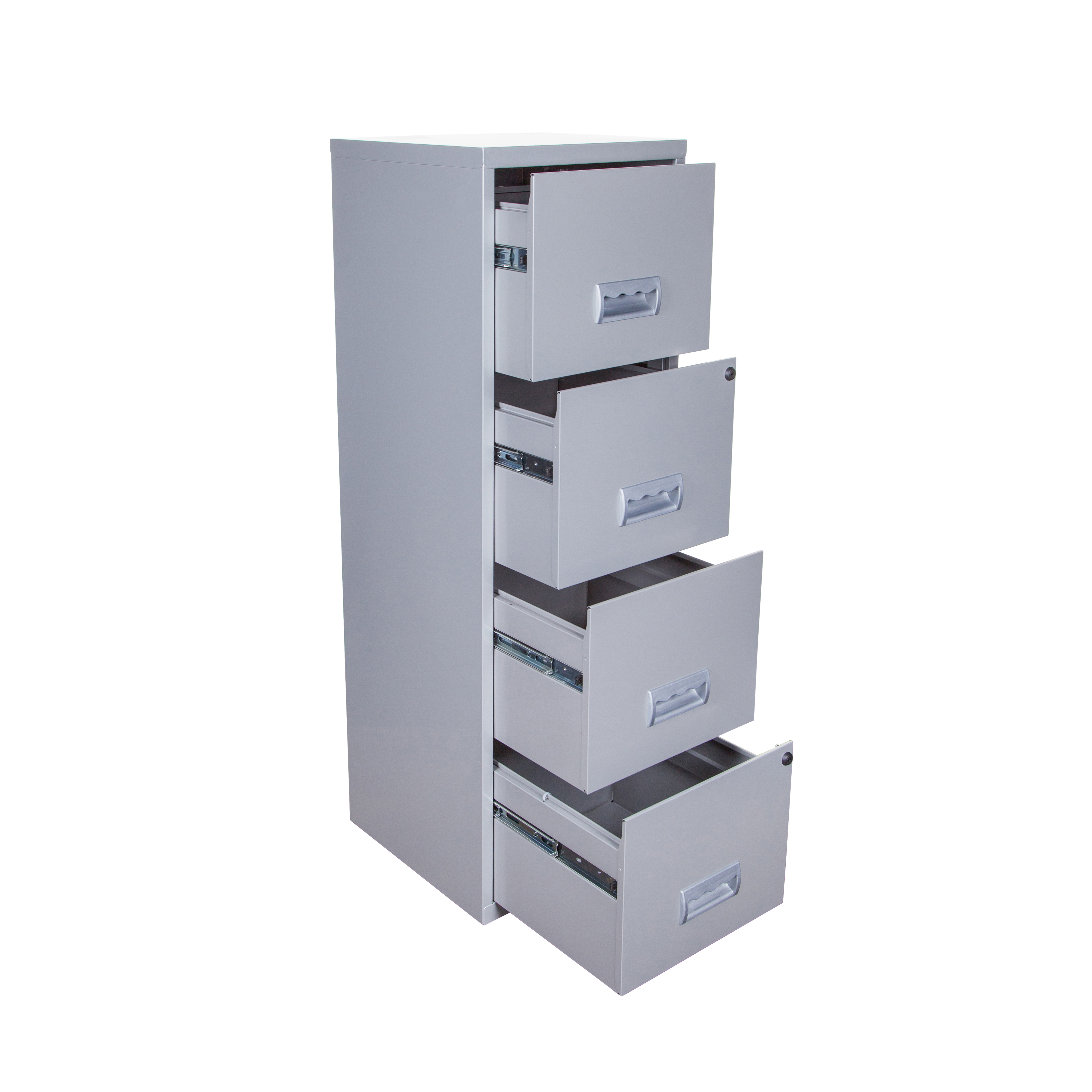 Pierre Henry Filing Cabinet Steel 4 Drawer A4 400x400x1250mm Silver Ref 595044