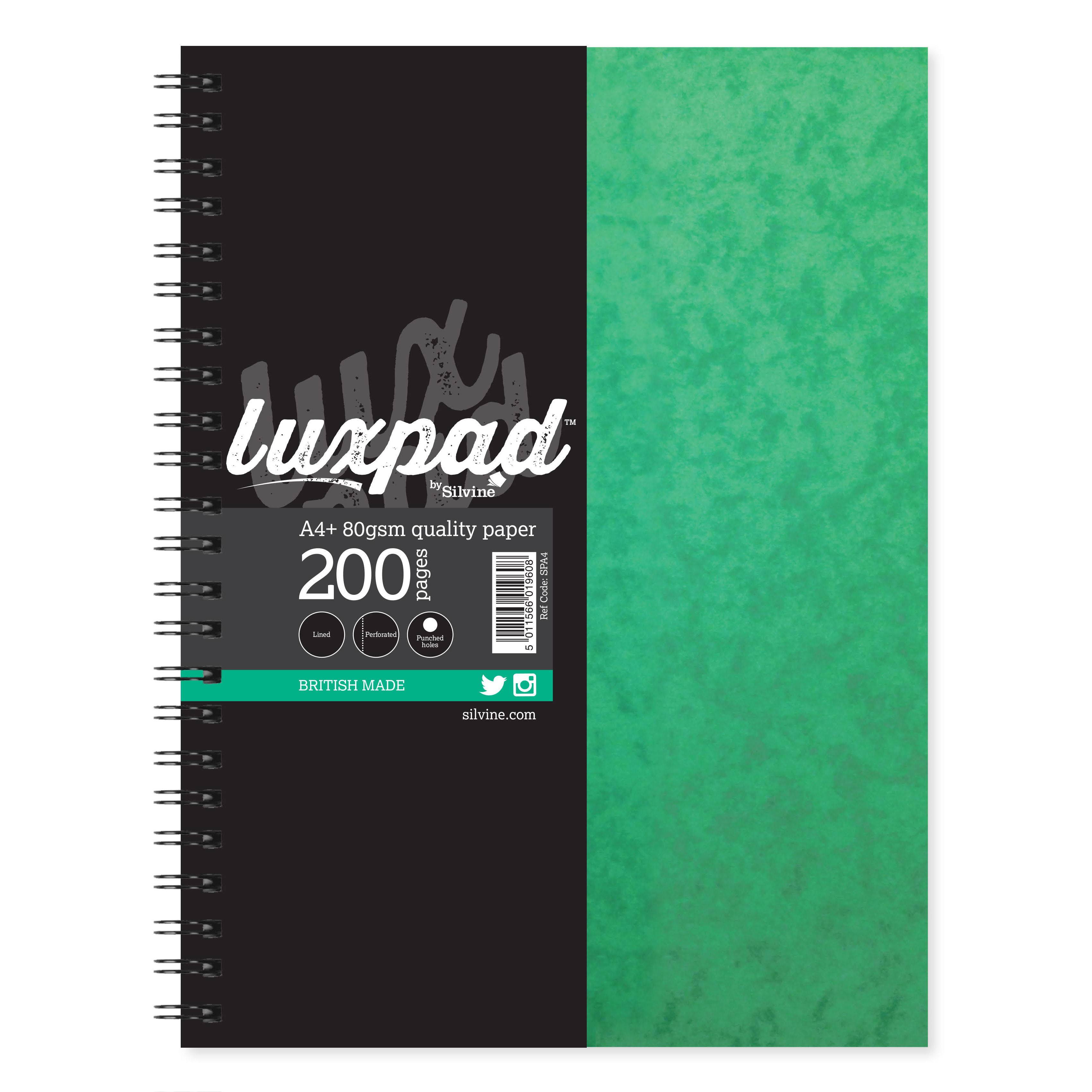 Silvine Notebook Twinwire Sidebound 75gsm Ruled Perf Punched 4 Holes 200pp A4+ Green Ref SPA4 Pack 6