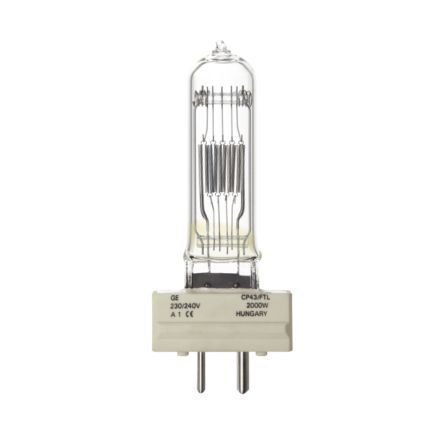GE 2000W Single Ended Halogen GY16 Showbiz Lamp Dimmable 54000lm EEC-C Ref88533 Up to 10 Day Leadtime