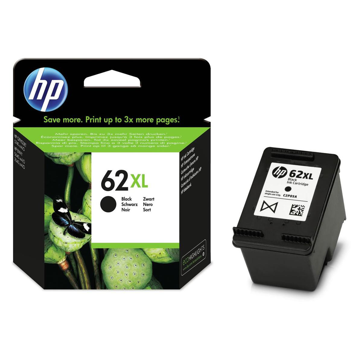 Hewlett Packard [HP] No.62XL Inkjet Cartridge 12ml Page Life 600pp Black Ref C2P05AE