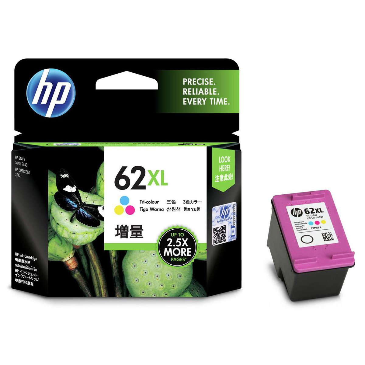 Hewlett Packard [HP] No. 62XL Inkjet Cartridge Tri Colour Ref C2P07AE
