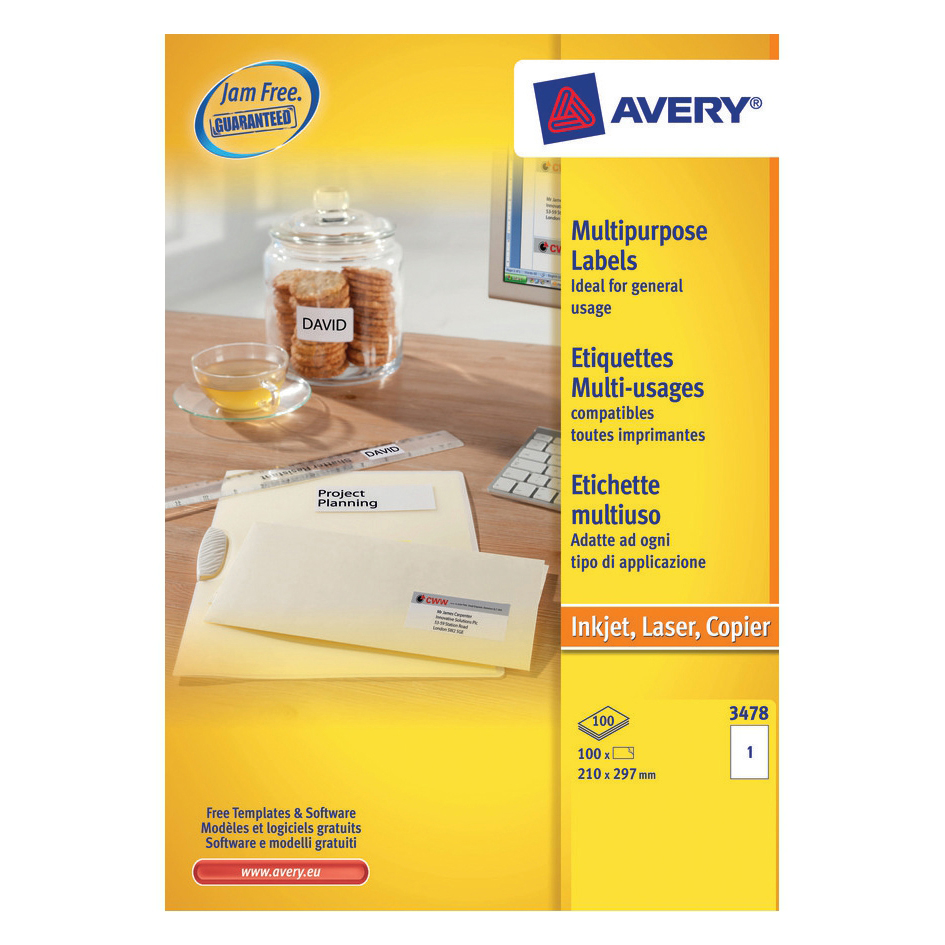 Avery Multipurpose Label Laser Copier Inkjet 1 per Sheet 210x297mm White Ref 3478 [100 Labels]