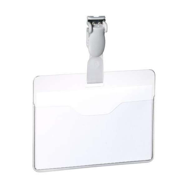 Badges or badge holders Durable Visitor Badge with rotating clip 60x90mm Landscape Ref 8147 Pack 25