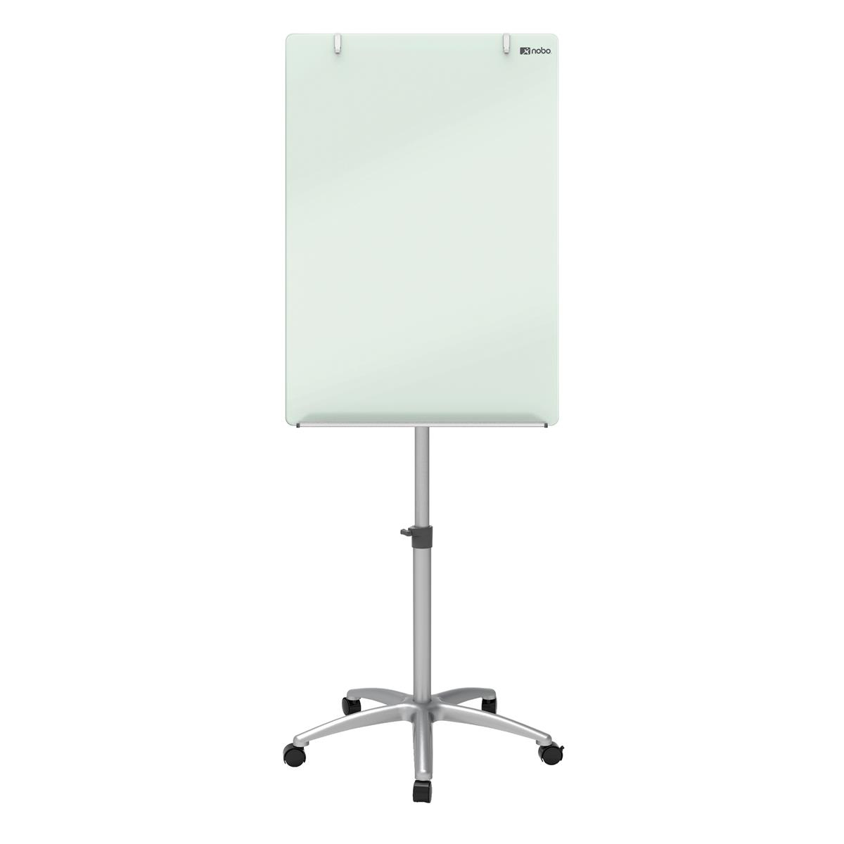 Nobo Brill White Mobile Easel Glass Board Size 700x1000mm W700xOverall Height 1850mm White Ref 1903949