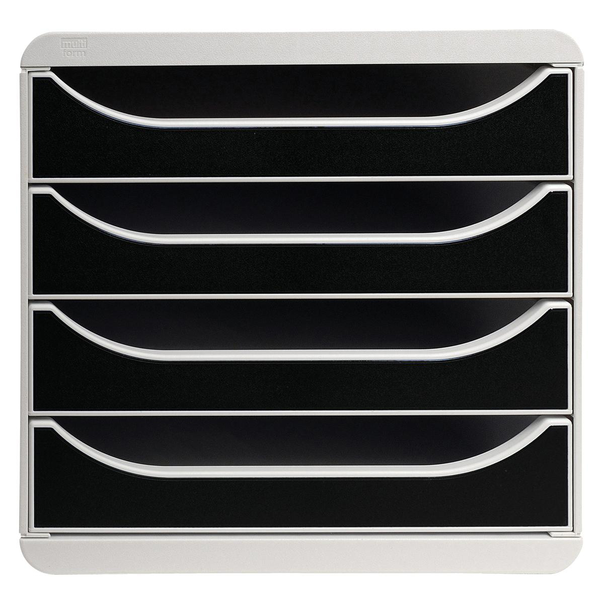 Exacompta Multiform Big Box Drawer Set Lt Grey and  Black Ref 310014D