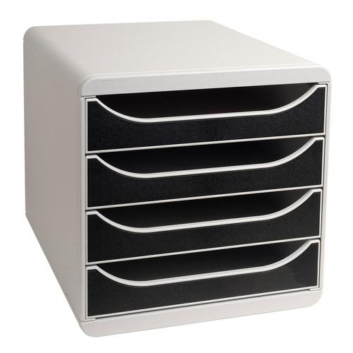Exacompta Multiform Big Box Drawer Set Lt Grey and Black Ref 310014D