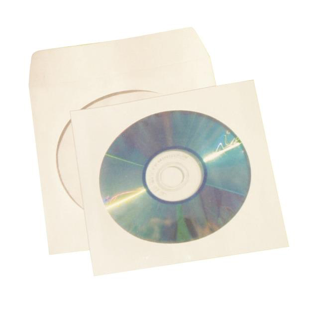 5 Star Office Ungummed Sleeve for CD/DVD with Window White Pack 50