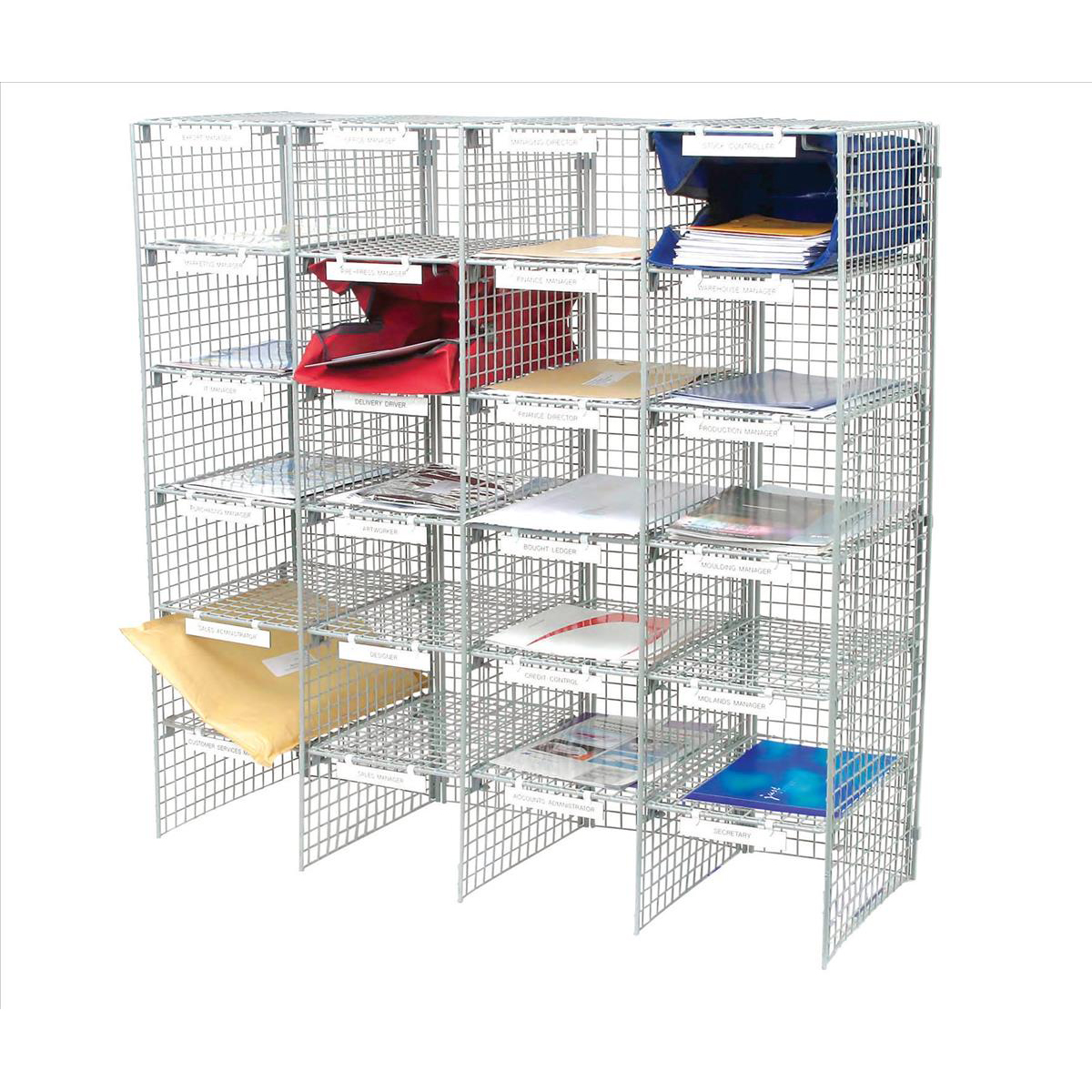 Literature Sorters Mailsorter Unit Plastic Coated Wire 24 Compartment Adjustable shelves Grey Ref MSU24G