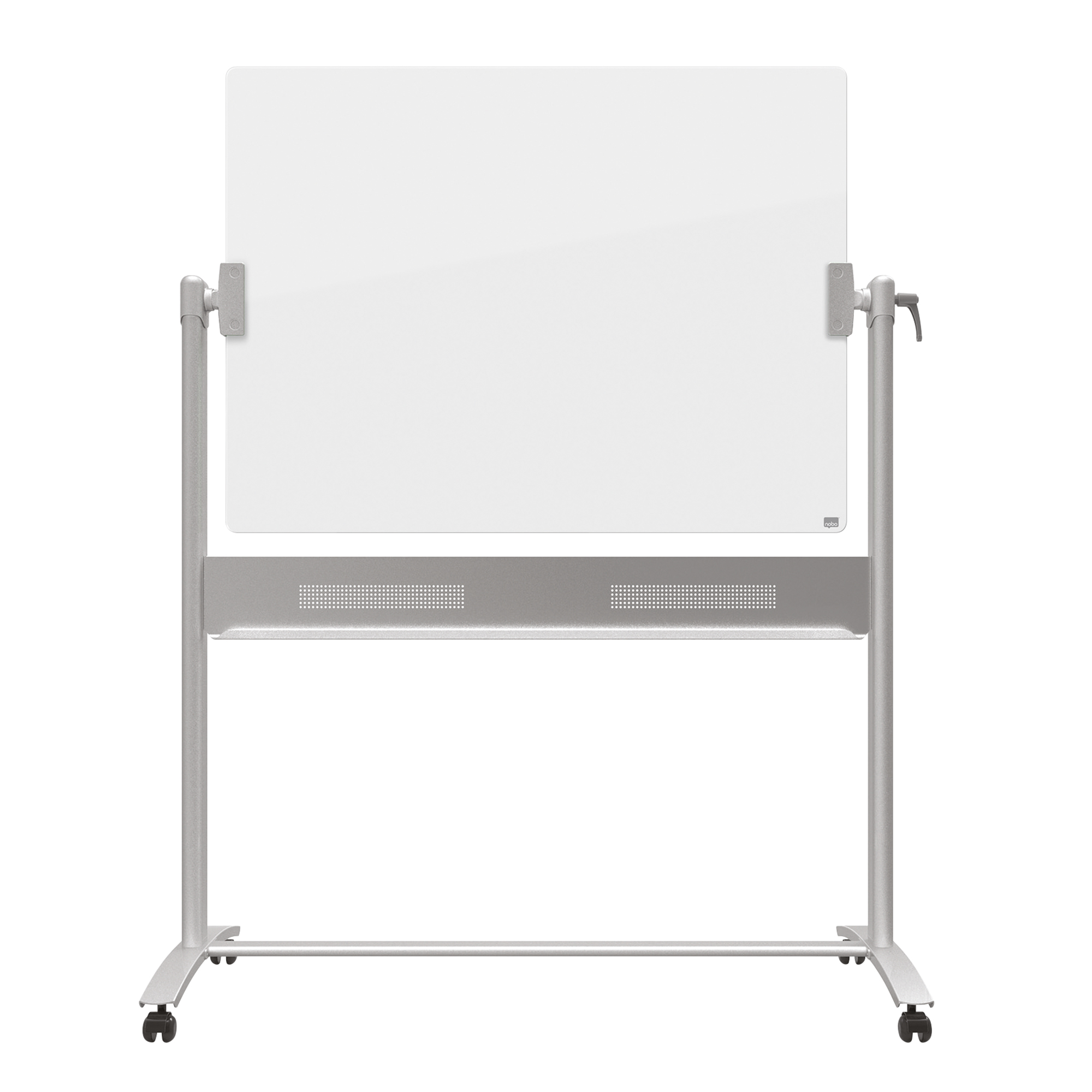 Glass Boards Nobo Diamond Whiteboard Mobile Glass Magnetic Horizontal Pivot 1200x900mm Ref 1903943