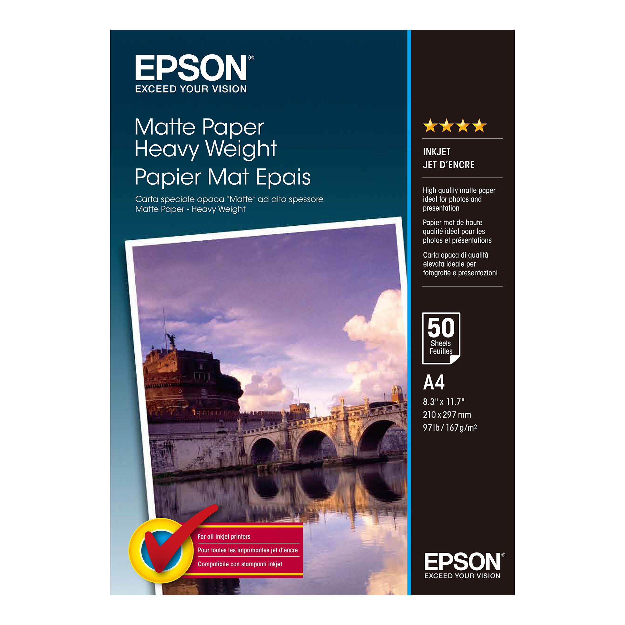 A4 Epson A4 Heavy Weight Matte Paper 50 Sheets 167gsm White Ref C13S041256 *3 to 5 Day Leadtime*