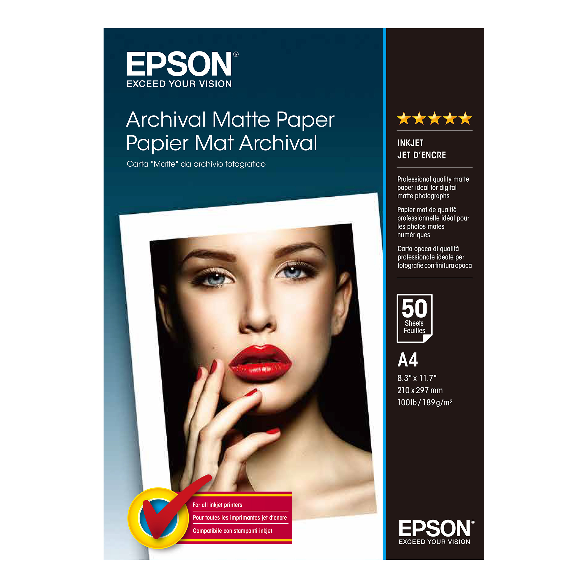 Epson A4 Archival Matte Paper 50 Sheets 192gsm White Ref C13S041342 3 to 5 Day Leadtime