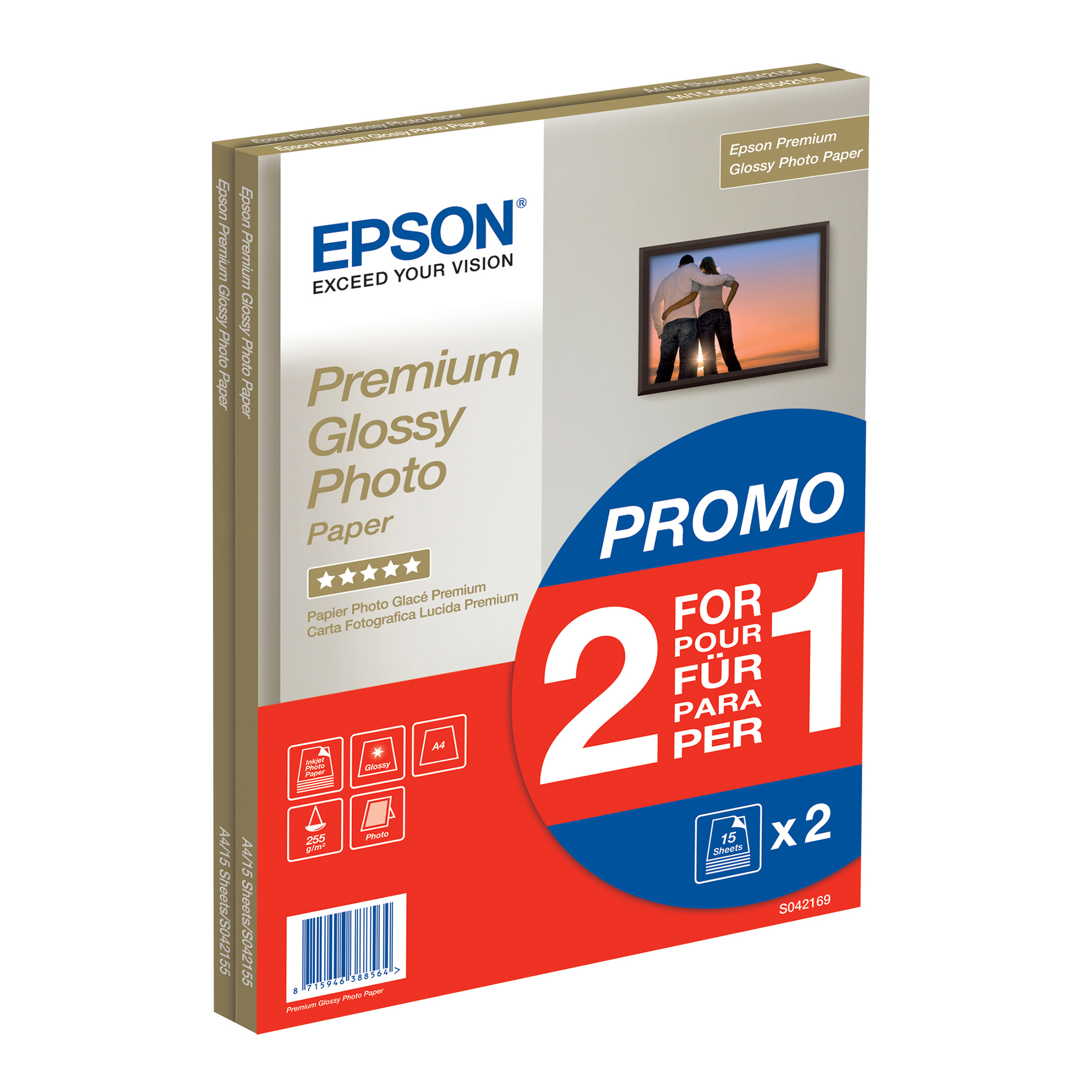 Photo Paper Bundle Epson A4 Premium Glossy Photo Paper 2x15 Sheet Pack Ref C13S042169 *3 to 5 Day Leadtime*