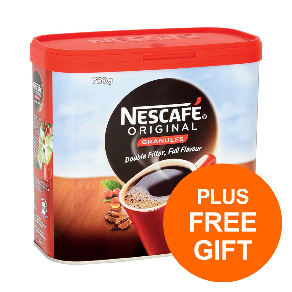 Nescafe Original Instant Coffee Granules Tin 750g Ref 12315566 [Pack 2] [Plus 3x Randoms] Jul-Sept 19