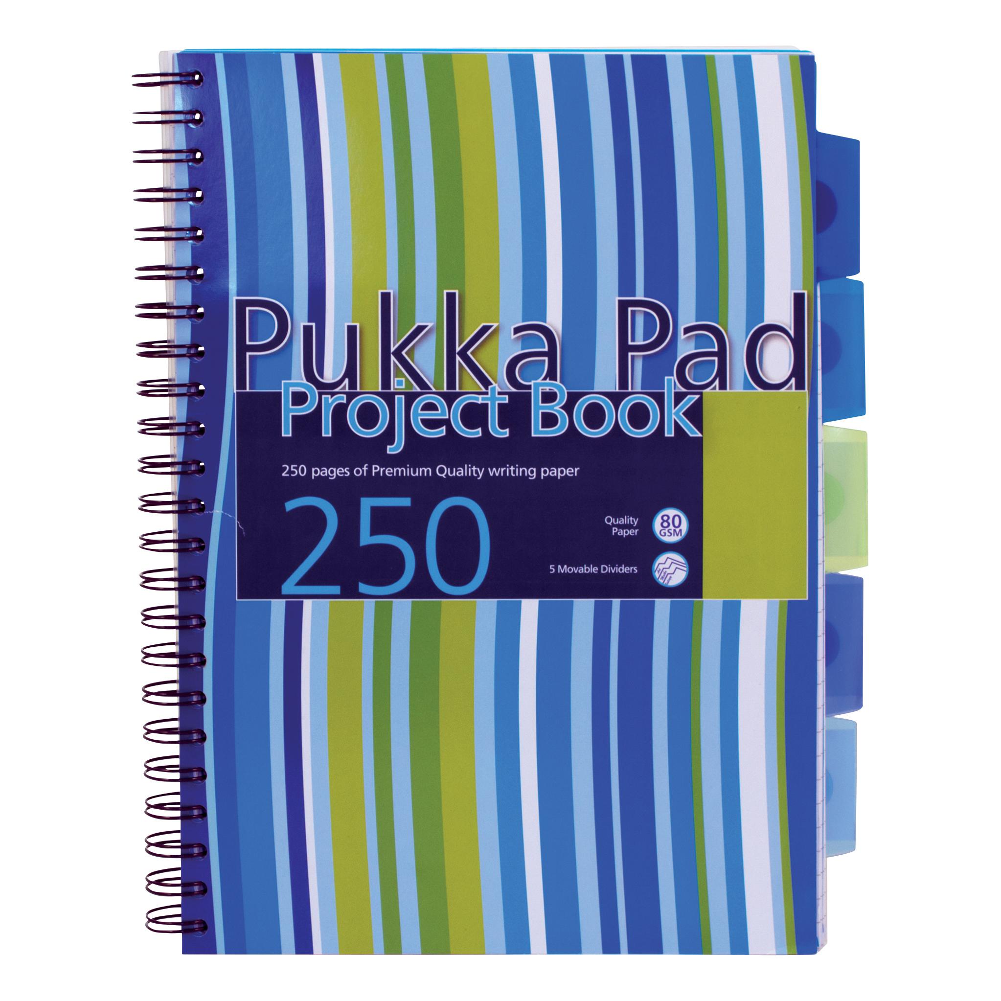 Pukka Pad Project Book Wirebound 5-Divider 250pp A4 Assorted RefPROBA4[Pack 3][Free Haribo Bag]Jul-Sep 19