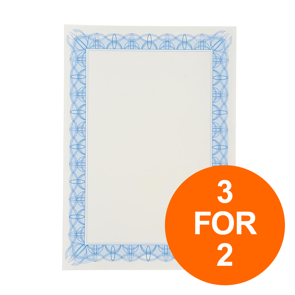 Certificate Papers with Foil Seals 90gsm A4 Blue Reflex 30 Sheets 3 for 2 Jul-Sept 19