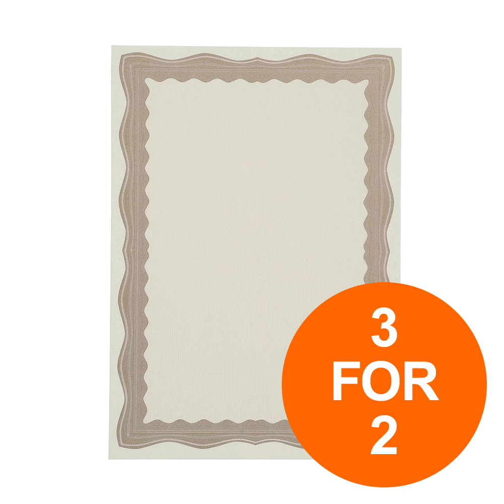 Certificate Papers with Foil Seals 90gsm A4 Bronze Wave [30 Sheets] [3 for 2] Jul-Sept 19