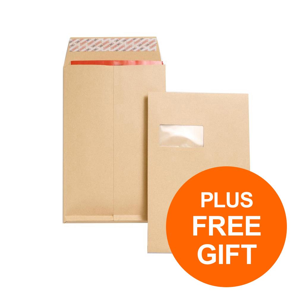 New Guardian Envelope FSC P/S Window Gusset 130gsm C4 RefJ27366 [Pk 100] [Free Post-it Pad Pk12]Jul-Sep19