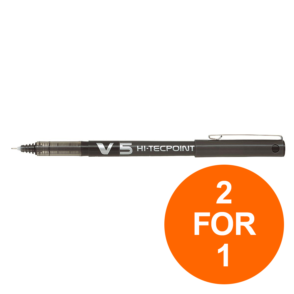 Pilot V5 Hi-Tecpoint Rollerball Pen Liquid Ink 0.5mm Tip Blk Ref V501 [Pack 12] [2 For 1] Jul-Sept 2019