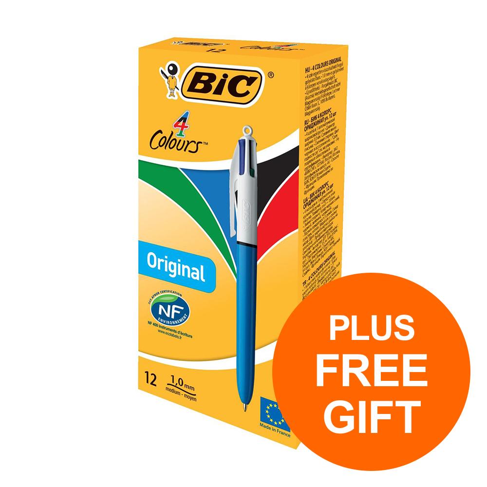 Bic 4-Colour Ball Pen Med 1.0mm Tip Blu Blk Red Grn Ref 801867 [Pack 12] [FREE Biscuits] Jul-Sept 2019