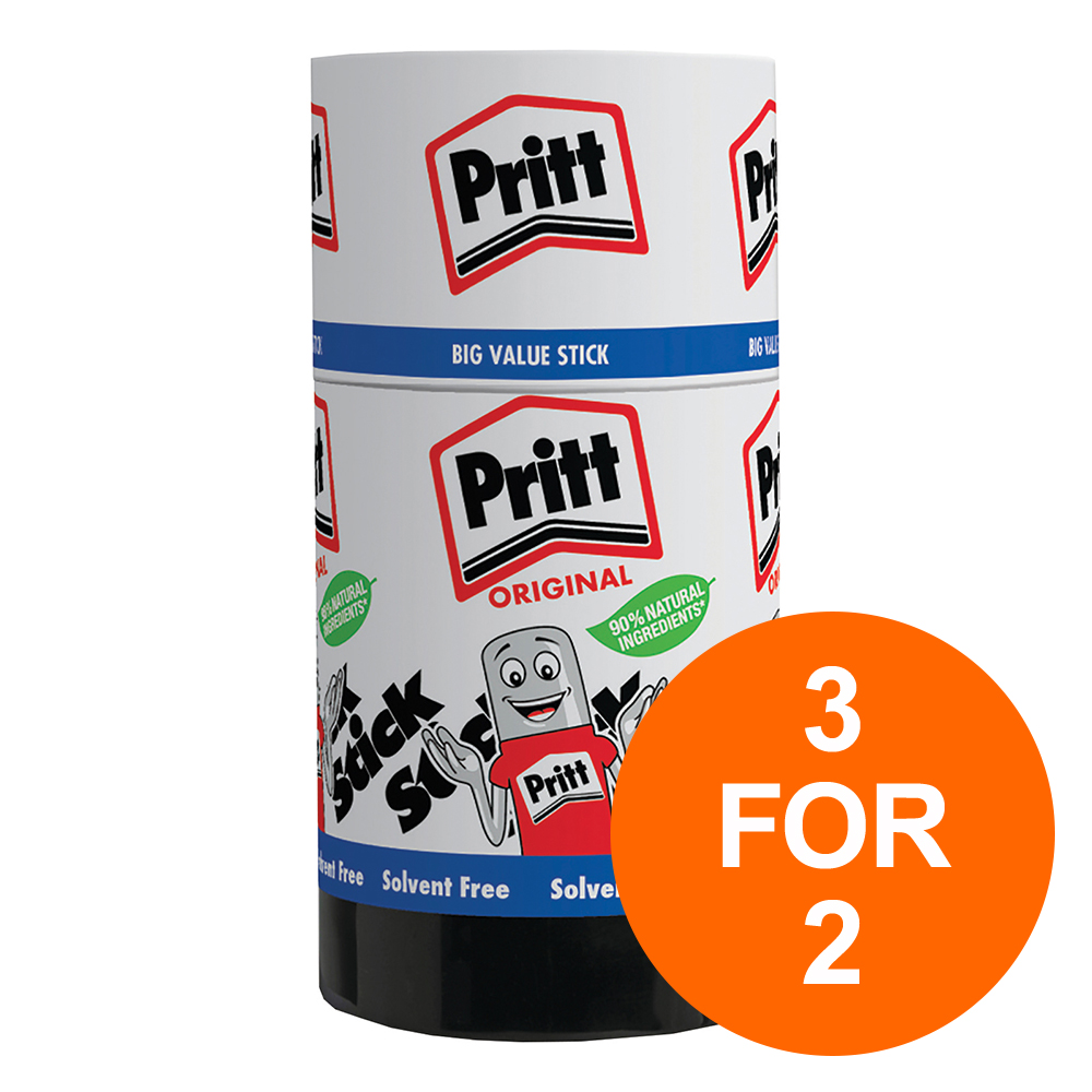 Pritt Stick Glue Solid Washable Non-toxic Jumbo 90g Ref 45552966 [Pack 6] [3 For 2] Jul-Sept 2019
