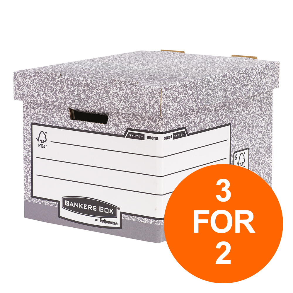 Bankers Box by Fellowes Heavy Duty Standard Storage Box FSC Ref 0081801 [Pack 10] [3 For 2] Jul-Sept 2019