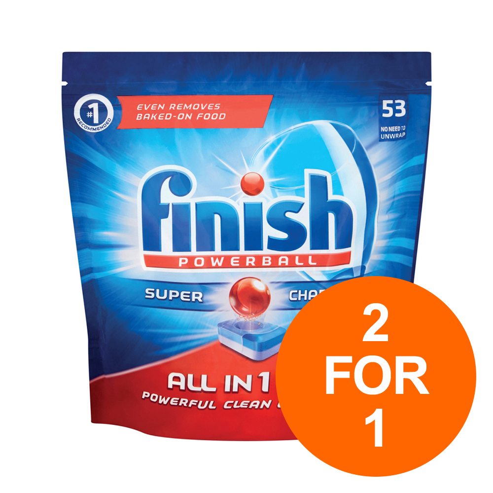 Finish Dishwasher Powerball Tablets All-in-1 Ref 3041411 [Pack 53] [2 for 1] Jul-Sept 19