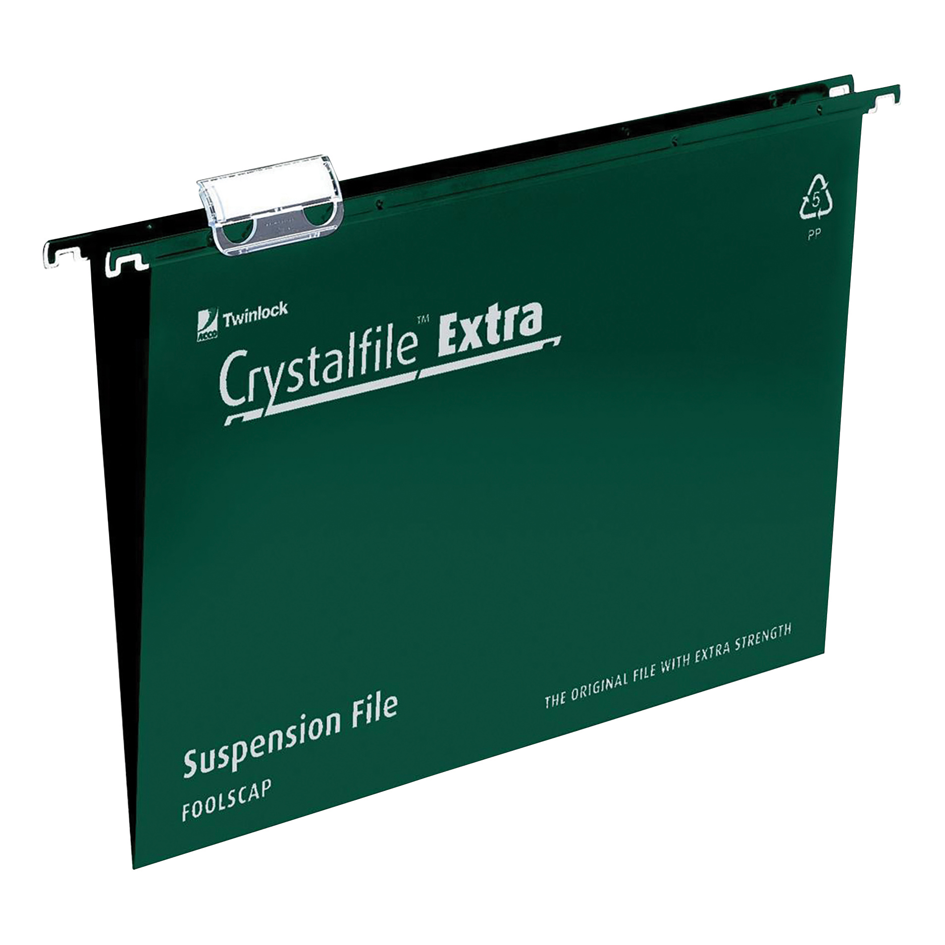 Rexel Crystalfile Extra Suspension File Polypropylene 15mm V-base Foolscap Green Ref 70628 [Pack 25]