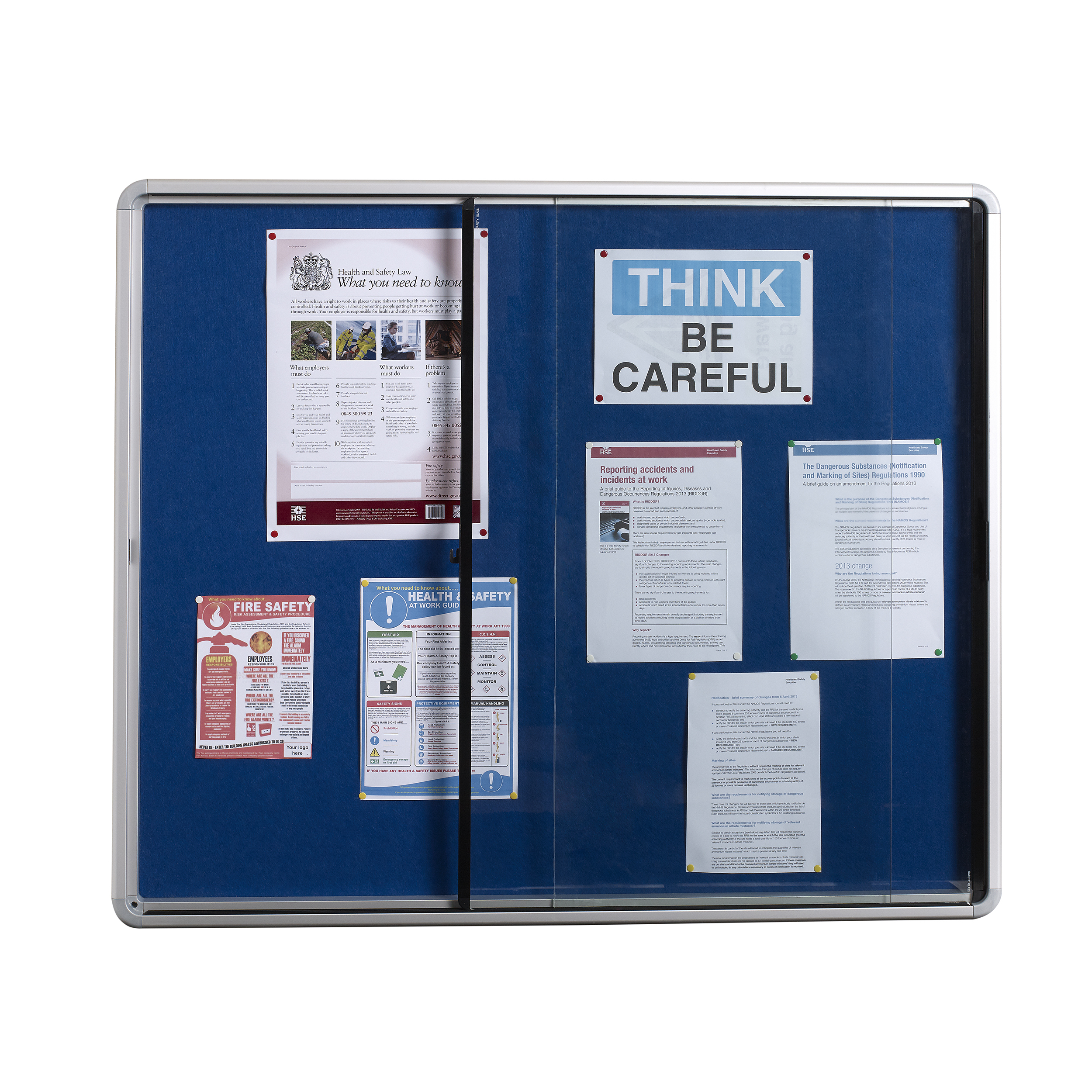 Glazed 5 Star Glazed Noticeboard with sliding Door Locking Alumin Frame Blue Felt 900x1200mm