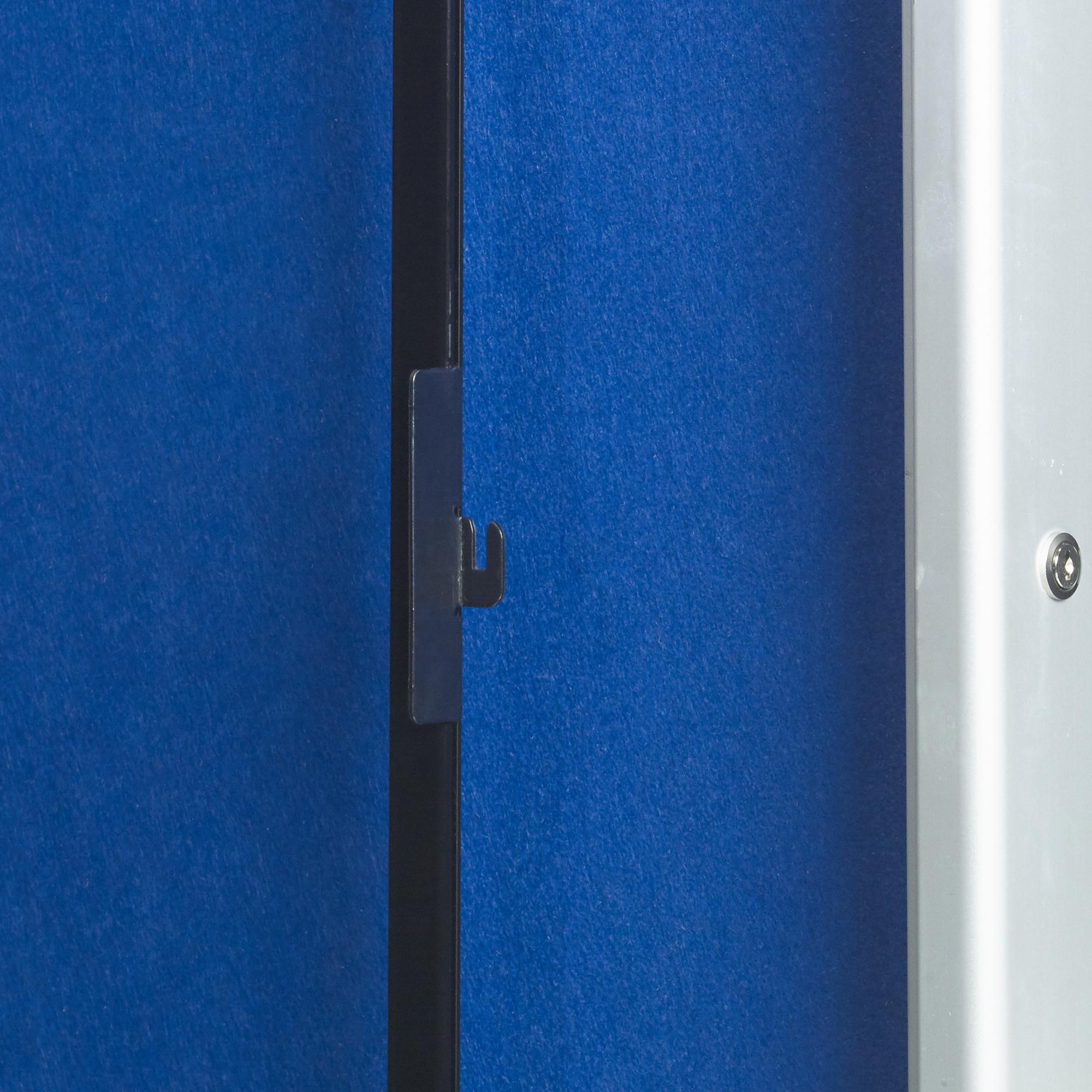 5 Star Glazed Noticeboard with sliding Door Locking Alumin Frame Blue Felt 900x1200mm
