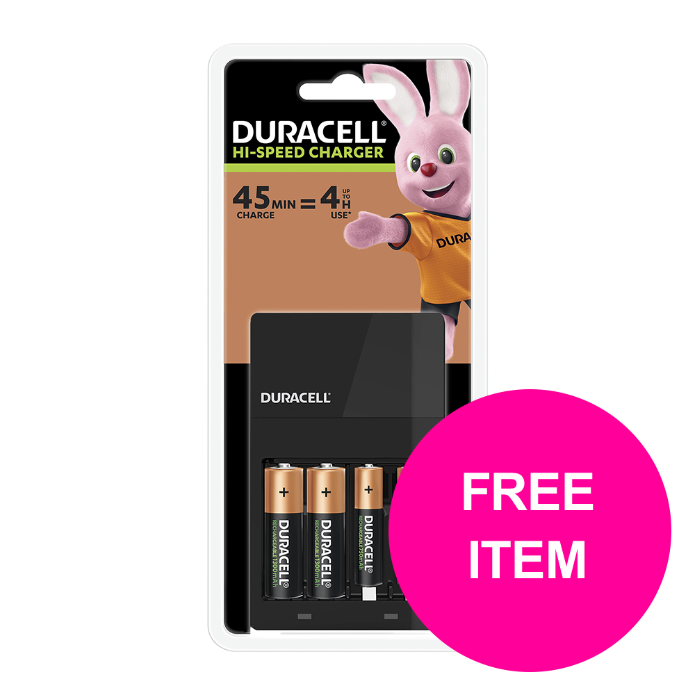BP Duracell CEF14 Battery Charger Hi Speed for AA/AAA [FREE AAA Batteries Pk4] Mar 2020