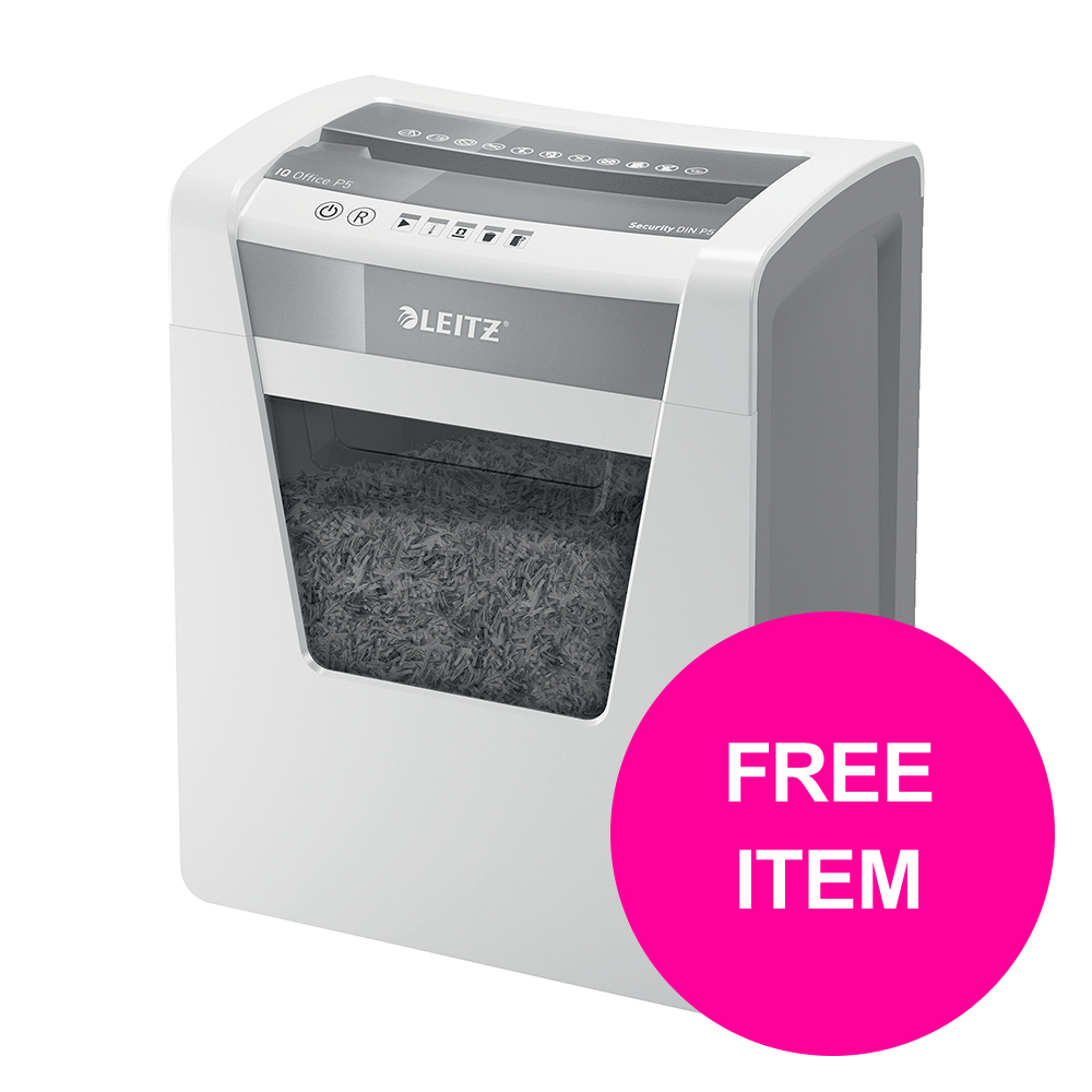Paper Shredders Leitz Office IQ Shredder Micro Cut P-5 [FREE Leitz iLam Office Laminator A3 Silver] Jan-Mar 20