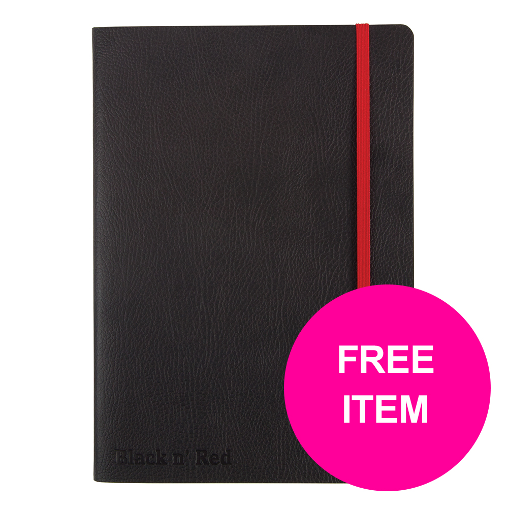 Black N Red Notebook Soft Notebook A5 Black Ref 400051204 [Buy 2 & Free BIC Ball Pen 4 Colours]Jan-Mar 20