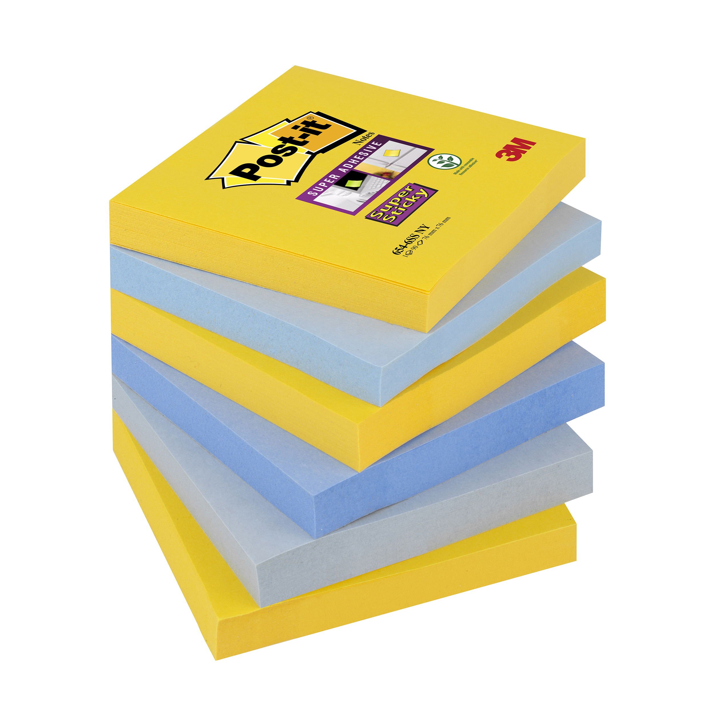 Post-it Super Sticky Nt New York 76x76mm Ref 654-6SS-NY Pack 6 [2 for 1] Jan-Mar 20