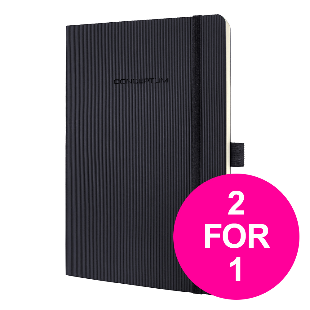 Log books or pads Sigel PEFC Concept Softcover Notebook A5 Black Ref CO321 [2 for 1] Jan-Mar 20