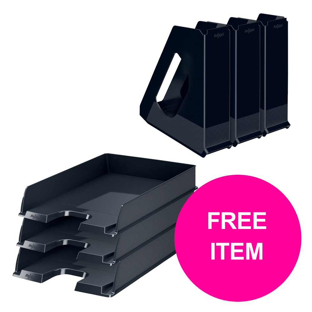 Desktop trays or organizers Rexel Choices Letter Trays A4 x3 & Mag Files x3 PP Black [Bundle Offer & FREE Matador Stapler] Jan-Mar 20