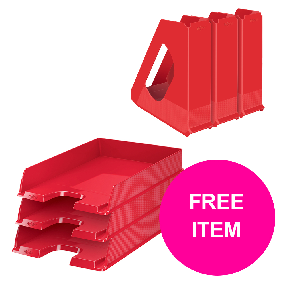 Desktop trays or organizers Rexel Choices Letter Trays A4 x3 & Mag Files x3 PP Red [Bundle Offer & FREE Matador Stapler] Jan-Mar 20