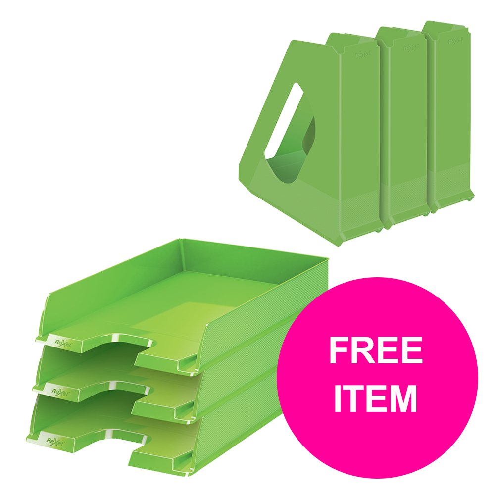 Desktop trays or organizers Rexel Choices Letter Trays A4 x3 & Mag Files x3 PP Green [Bundle Offer & FREE Matador Stapler] Jan-Mar 20