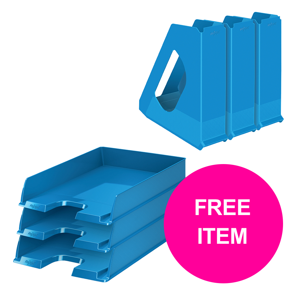 Desktop trays or organizers Rexel Choices Letter Trays A4 x3 & Mag Files x3 PP Blue [Bundle Offer & FREE Matador Stapler] Jan-Mar 20