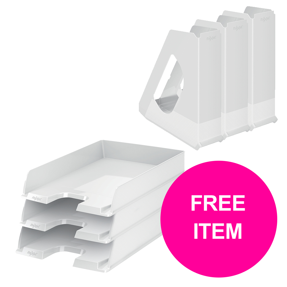 Desktop trays or organizers Rexel Choices Letter Trays A4 x3 & Mag Files x3 PP White [Bundle Offer & FREE Matador Stapler] Jan-Mar 20