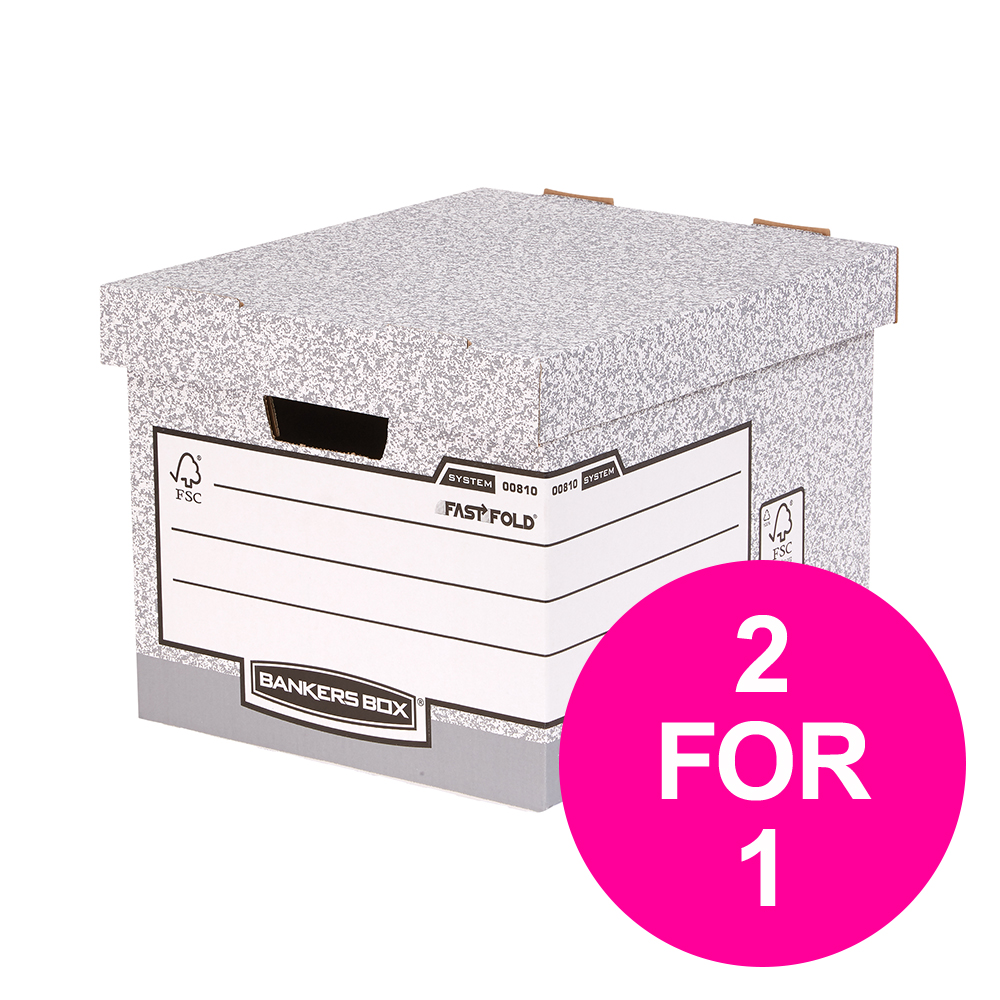 File storage boxes or organizers Bankers Box by Fellowes Standard Storage Box Foolscap FSC Ref 00810-FF [Pack 10] [2 for 1] Jan-Mar 20