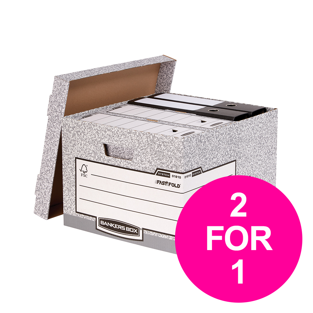 File storage boxes or organizers Bankers Box by Fellowes Large Storage Box Foolscap FSC Ref 01810SP2 [Pack 10] [2 for 1] Jan-Mar 20