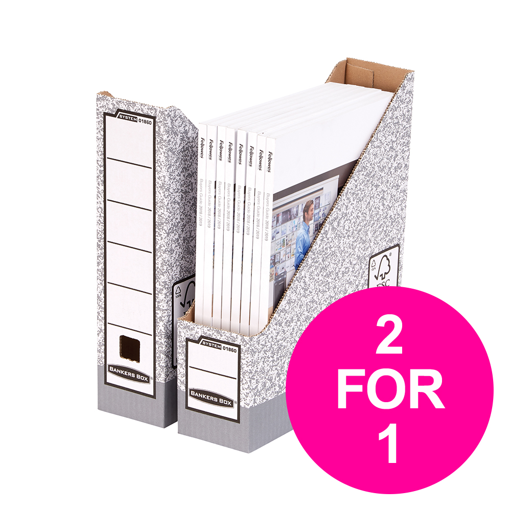 File storage boxes or organizers Bankers Box by Fellowes Magazine File Gry/White Ref 0186004 [Pack 10] [2 for 1] Jan-Mar 20