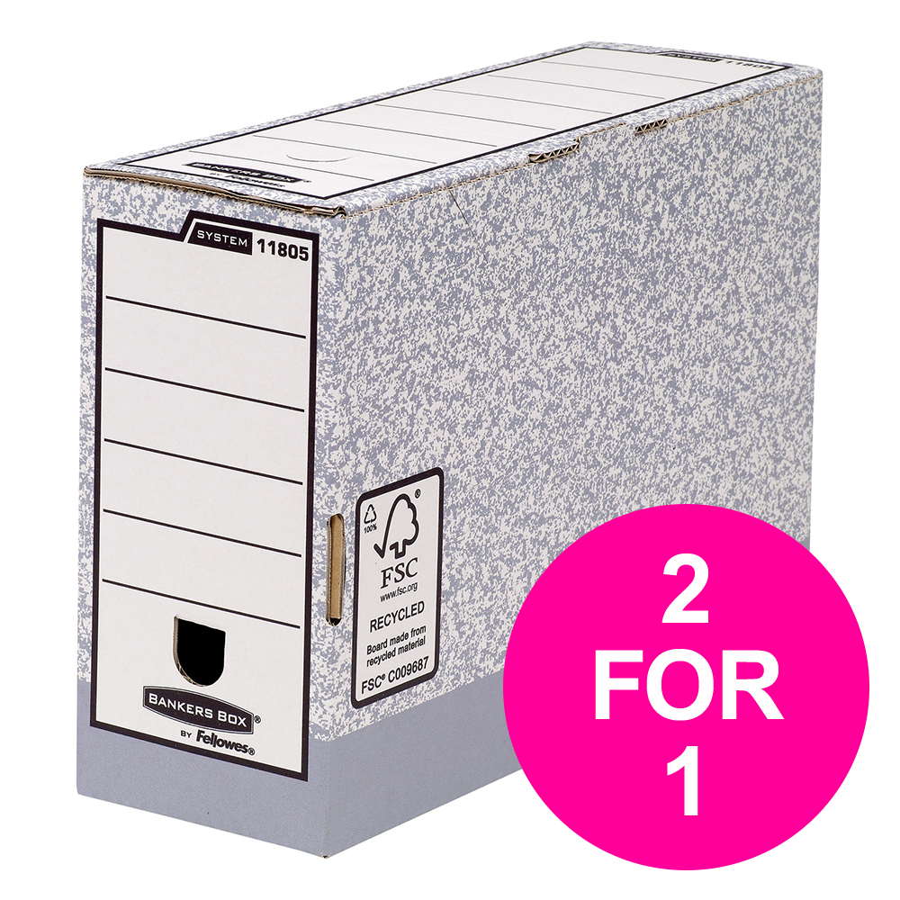 Bankers Box by Fellowes System Transfer Box Files Gry/White Ref 1180501 [Pack 10] [2 for 1] Jan-Mar 20