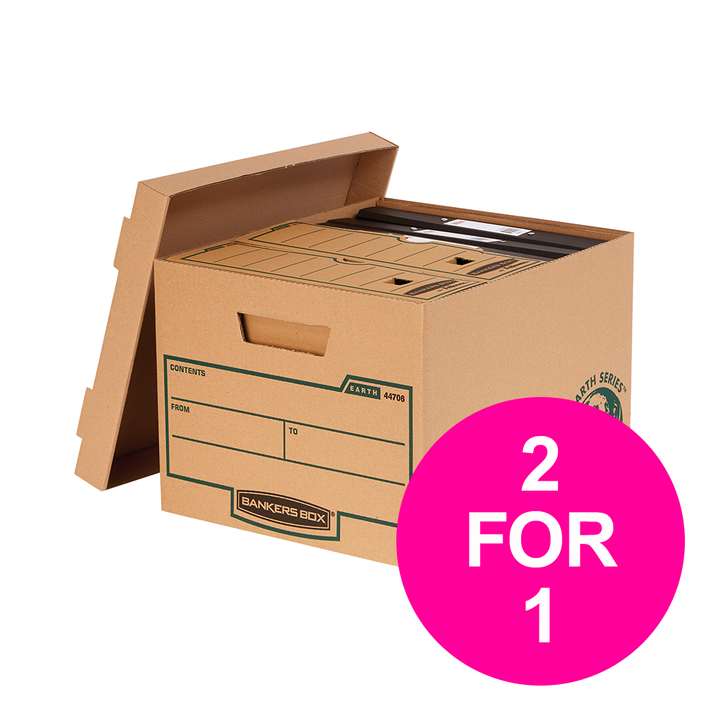 File storage boxes or organizers Bankers Box Earth Series by Fellowes Std Storage Boxes Brown Ref 4470601 [Pack 10] [2 for 1] Jan-Mar 20