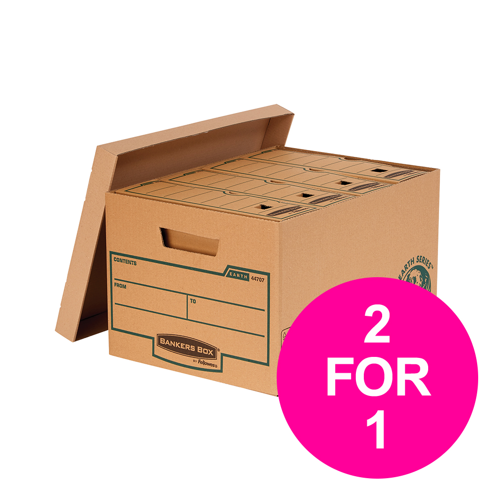 File storage boxes or organizers Bankers Box Earth Series by Fellowes Large Storage Boxes Brown Ref 4470709 [Pack 10] [2 for 1] Jan-Mar 20