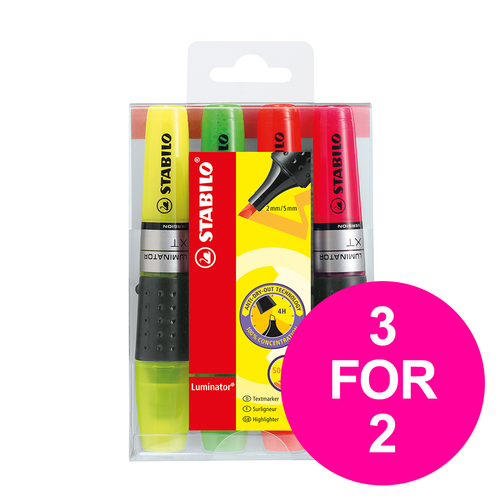Highlighters Stabilo Luminator Highlighter Assorted Ref 71/4 [Pack 4] [3 for 2] Jan-Mar 2020