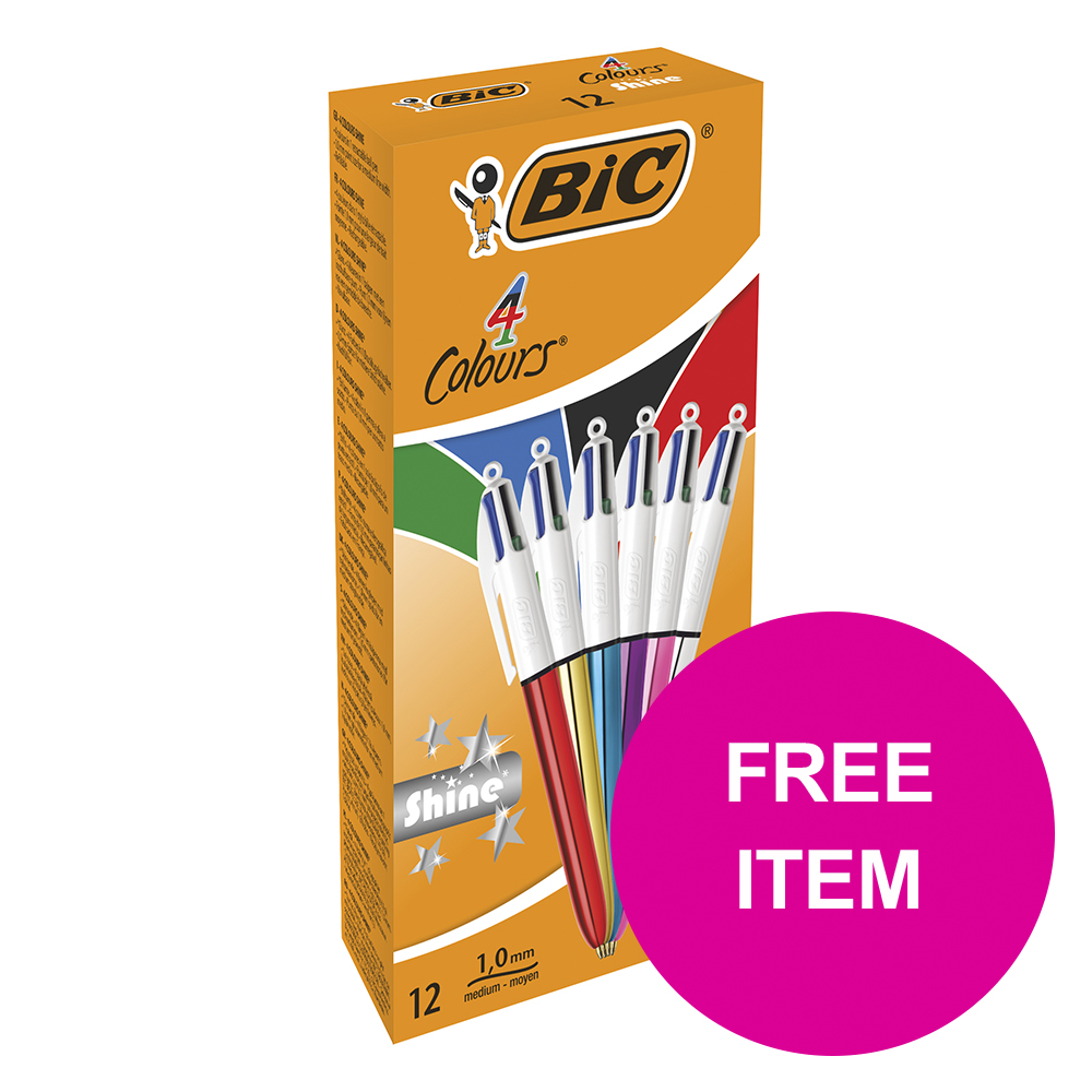 Ball point pens Bic 4 Colours Shine Ballpoint Pen Medium Assorted Ref 964775 [Pack 12] [FREE Post It Notes] Jan-Mar 2020