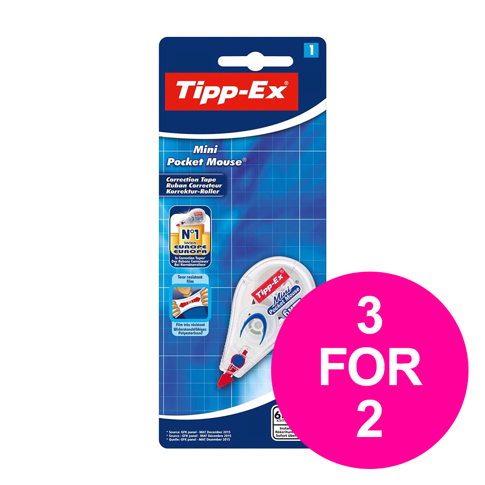Correction film or tape Tipp-Ex Mini Pocket Mouse 6mx5mm Ref 932564 [Pack 10] [3 for 2] Jan-Mar 2020