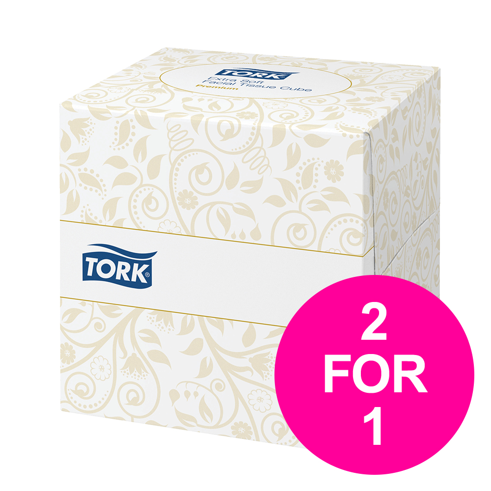 Facial tissues Tork Facial Tissues Cube 2 Ply 100 Sheets White Ref 140278 [Pack 30] [2 for 1] Jan-Mar 2020